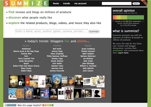 Summize.com Homepage