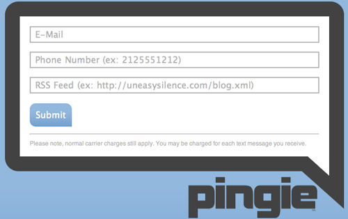 Pingie - RSS to SMS
