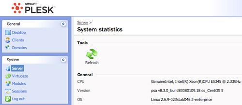 Media Temple (dv) 3.5 Plesk Server Stats