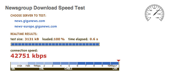 Newsgroup Download Speed Test by Giganews