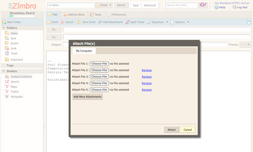 Zimbra - Add Attachment
