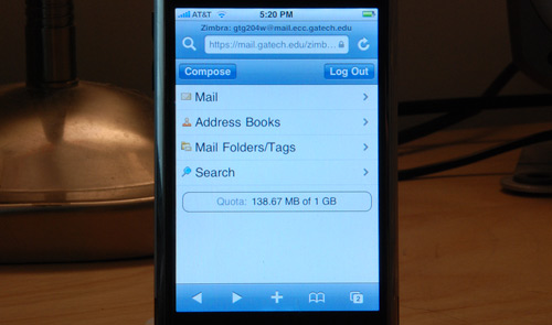 Zimbra iPhone Interface
