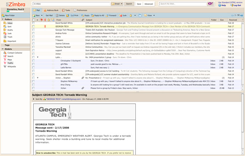 Zimbra Webmail Interface