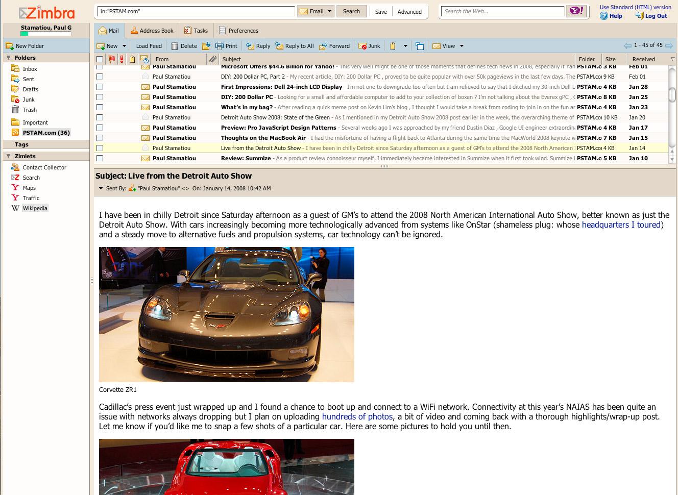 Review: Zimbra Webmail — PaulStamatiou com