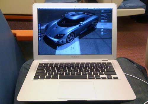 MacBook Air on Washington, D.C. metro train