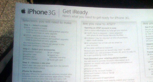 Apple hands out a flier to ensure we are ready for the iPhone 3G. It includes AT&T plan info.