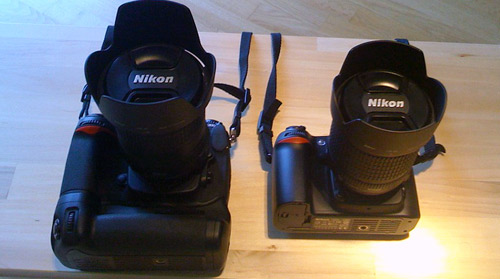 Size Comparison: Nikon D300 and D80