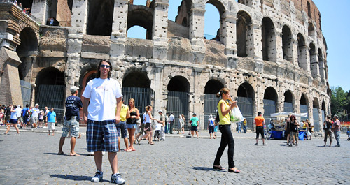 Paul Stamatiou at the Colosseum in Rome, Italy