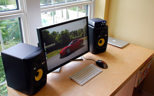 Desk with a pair of Rokit RP5G2 Studio Monitors and PreSonus Audiobox USB