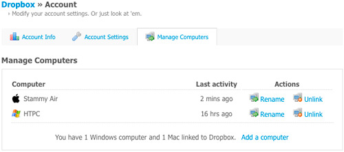 Dropbox Manage Linked Computers