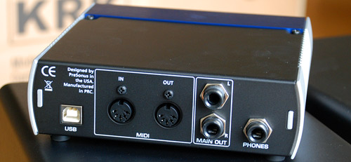 Rear of PreSonus Audiobox USB