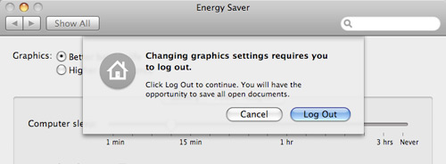Energy Saver Graphics Settings