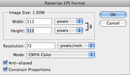 Rasterizing EPS in Photoshop