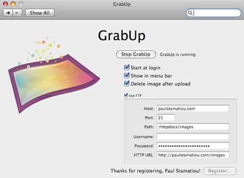 GrabUp Preferences OS X