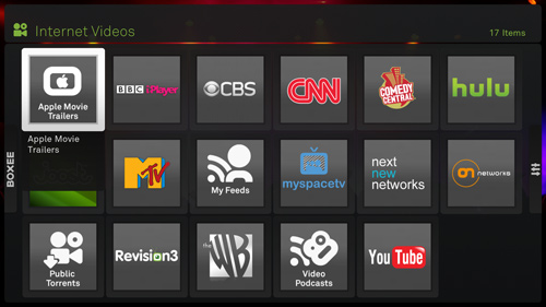 Internet content on Boxee