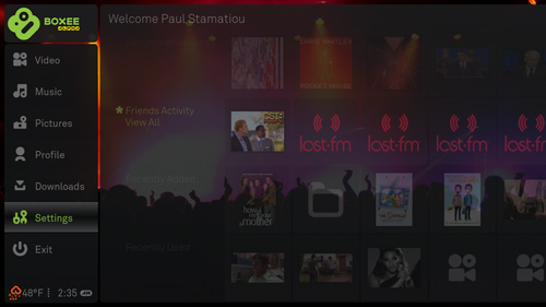 Boxee home screen with sidebar