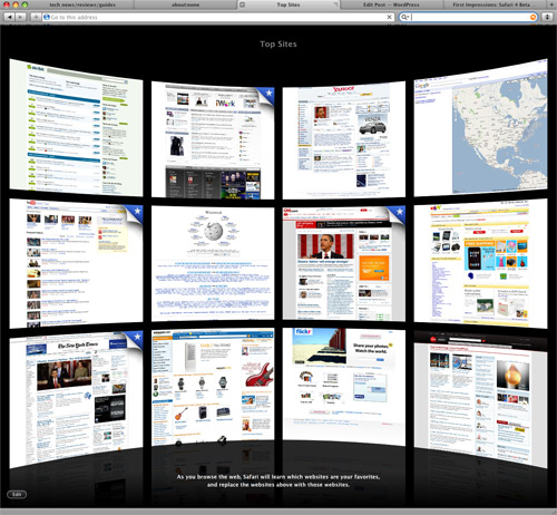 Top Sites in Safari 4 Beta