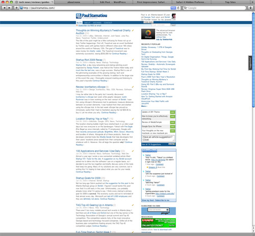 PaulStamatiou.com Zoomed Out on Safari 4 Beta