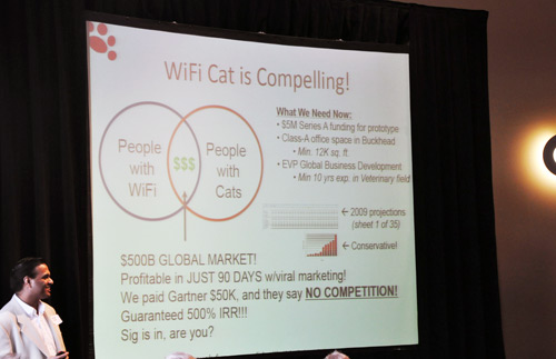 Wifi Cat pitch at startup riot 2009