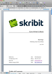Skribit Business Plan Draft in Microsoft Word Mac 2008
