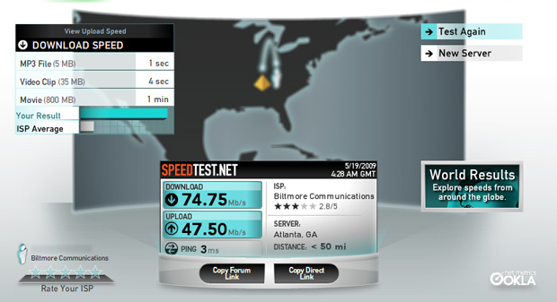 DirecPATH/Purdigital/Biltmore Communications ISP Bandwidth Test in Midtown Atlanta