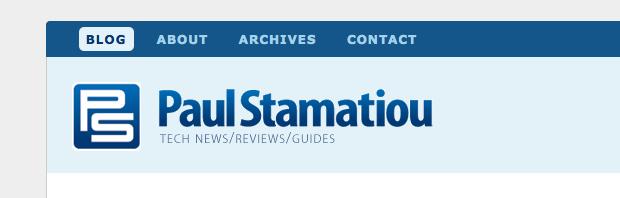 PaulStamatiou.com Redesign, header