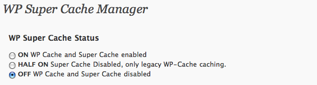 WordPress Super Cache - disable caching