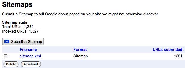 Google Webmaster Tools Sitemap