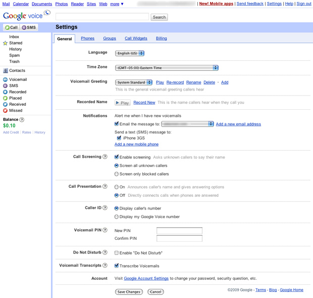 Google Voice General Settings