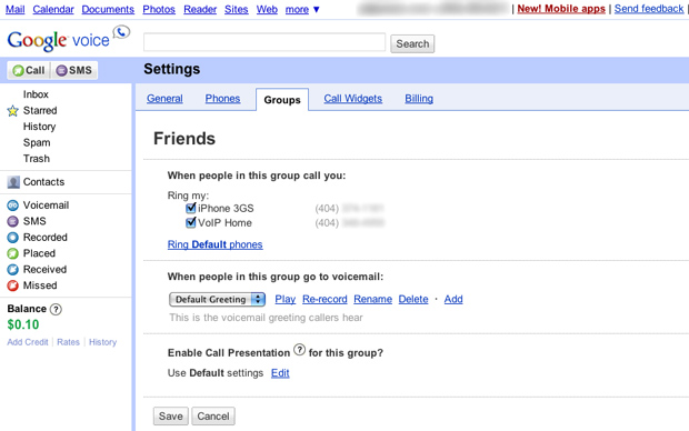 Google Voice Groups Setting