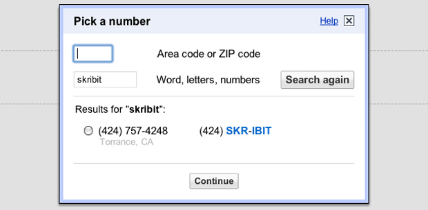 Google Voice - Select Number