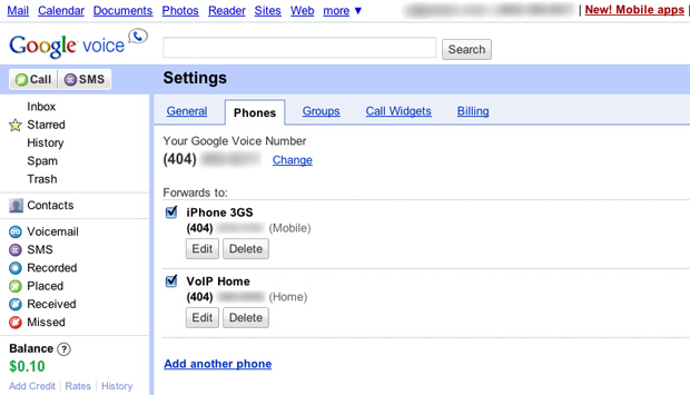 Google Voice Phones Settings