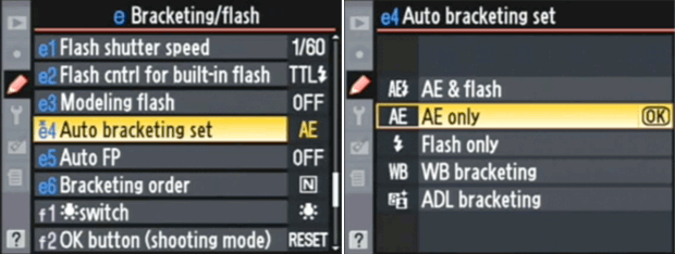 Nikon D90 menu - Auto Exposure Bracketing