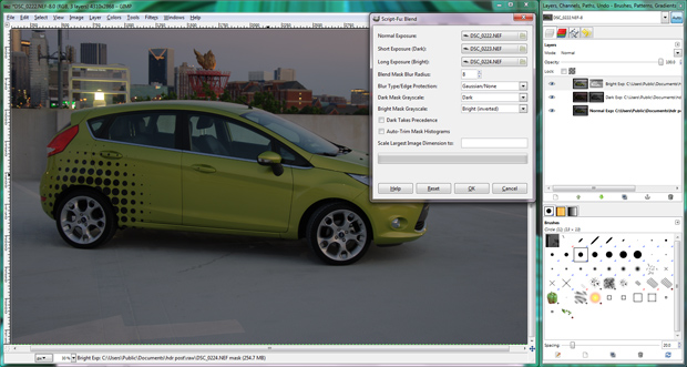 HDR process with GIMP and Exposure Blend script