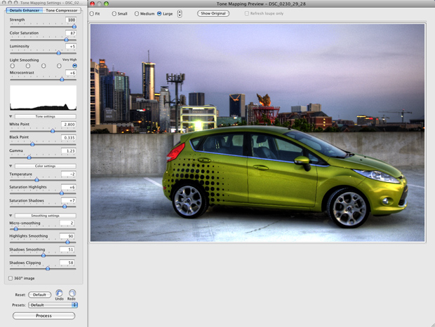 The Photomatix Pro tone-mapping interface