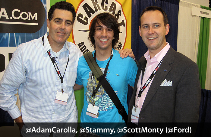Paul Stamatiou with Adam Carolla and Scott Monty at BlogWorld Expo 2009