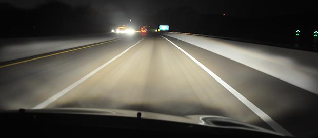 Fiesta headlights at night