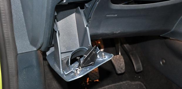 Broken plastic panel in the Fiesta
