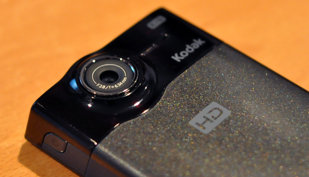 lens of the Kodak Zi8 high definition pocket video camera
