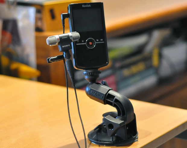 Kodak Zi8, Sony ECM-DS70P and Panavise 809 Camera Suction Cup Mount