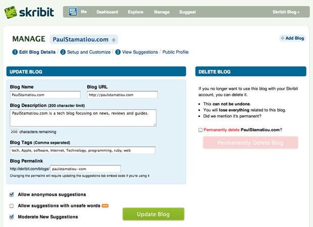 Blog Settings Screenshot of Skribit - Cure Writer's Block