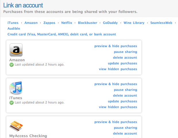 Linking accounts to Blippy
