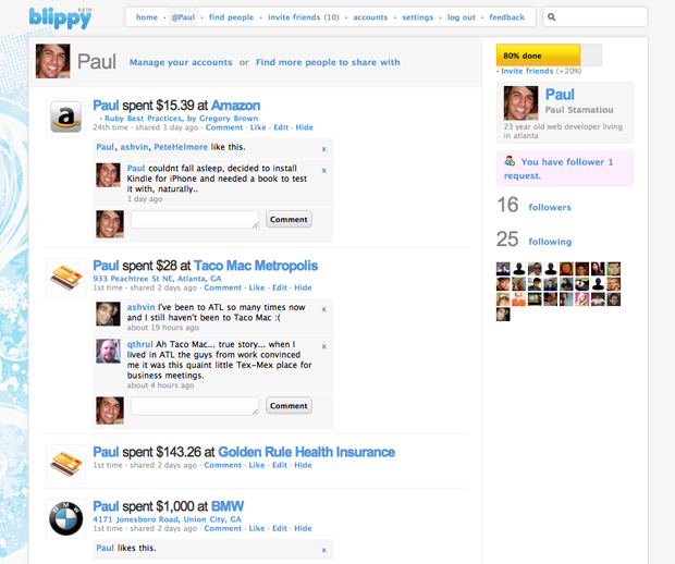Blippy profile for @Paul