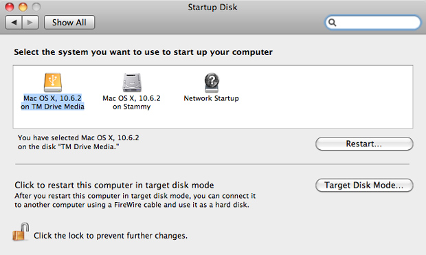 Select Startup Drive in OS X 10.6 - Boot off of external drive clone