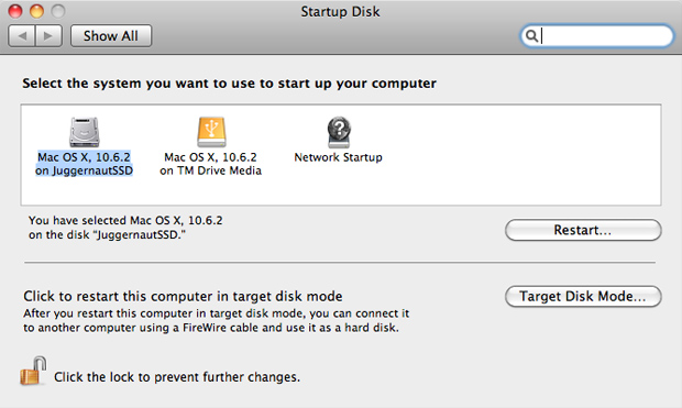 Select Startup Drive in OS X 10.6 - Boot off of internal SSD RAID 0 array