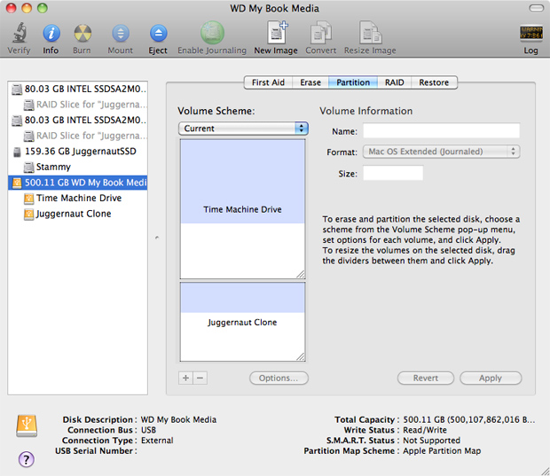 Partition external drive for Time Machine and Carbon Copy Cloner/SuperDuper - OS X 10.6