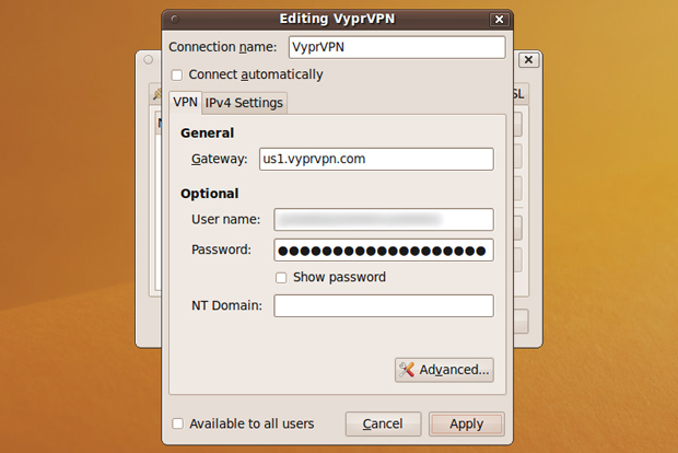 VPN settings for Ubuntu