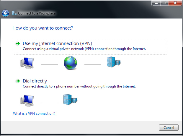Connect to a workplace - Use my internet connection (VPN) - Windows 7