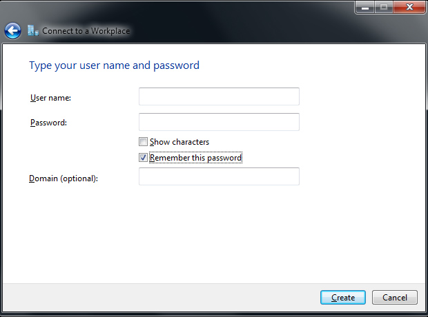 Connect to VPN - provide username and password - Windows 7