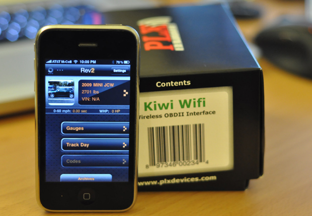 iPhone 3GS and Rev app with PLX Devices Kiwi Wifi